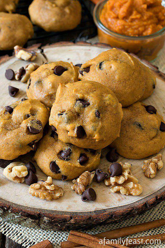 Soft Pumpkin Chocolate Chip Cookies - Lightly sweet pumpkin cookies full of chocolate chips and walnuts.  So good!