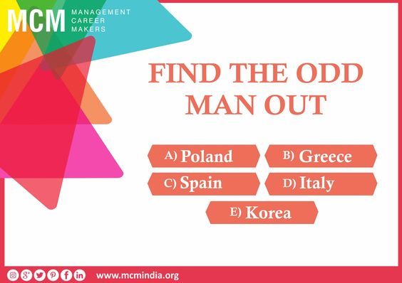 Find the odd man out!!! Answer this simple question and get a chance to get amazing gifts from Mcm Classes #mcmindia www.mcmindia.org