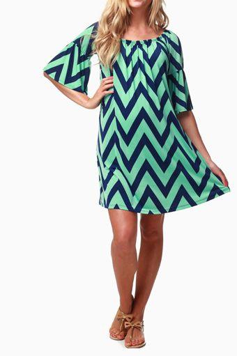 Mint-Green-Navy-Chevron-Maternity-Dress