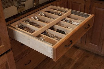 Very cool drawer for utensils. Brown/Nilon Large Double-Tiered Cutlery Tray - traditional - kitchen - dc metro - Cameo Kitchens, Inc.