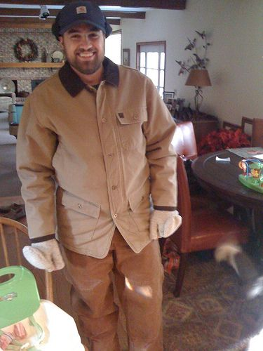 """Kris decked out in my Carhartt gear I bought for winter in Valdez, except the jacket, that's what Kris called his """"Steve walking jacket."""" by   Jahsh Lander"""