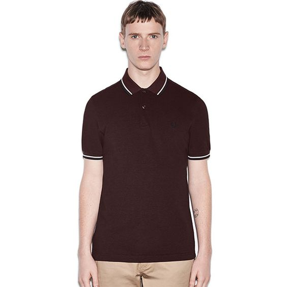 Fred Perry Polo Shirt- Mahogany Black Oxford / White / Black