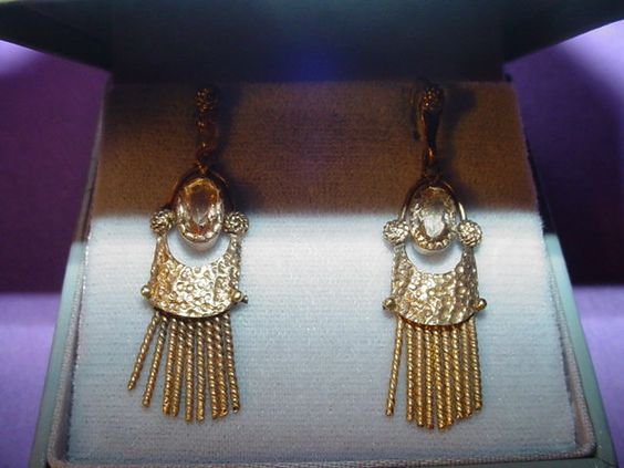 Arts + Crafts Gilt Quartz Earrings ~ Fahrner~ Germany