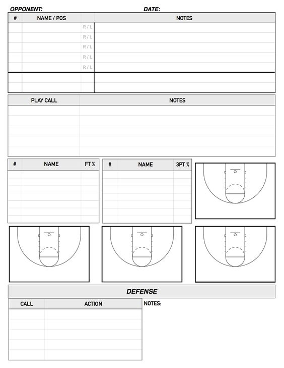 Bench Scouting Sheet  Basketball    Bench