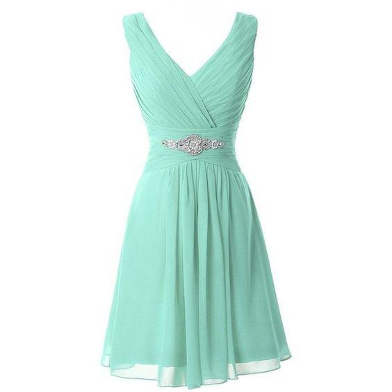 Manfei Women's V-Neck Chiffon Short Bridesmaid Dress Party Dress ($40) ❤ liked on Polyvore featuring dresses, short green dress, chiffon dress, green bridesmaid dresses, v neck bridesmaid dresses and cocktail bridesmaid dresses