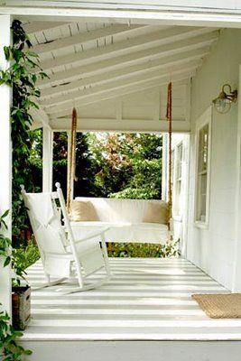 Grey striped porch