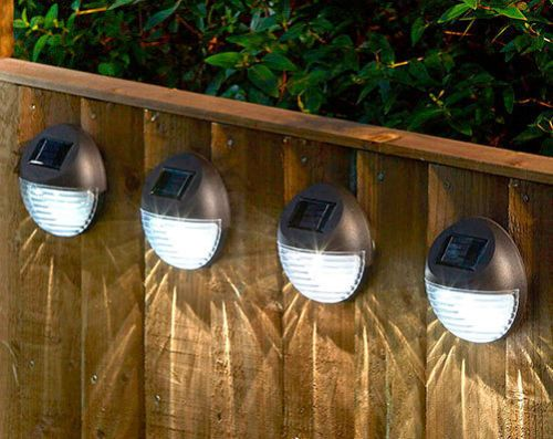 Round Solar Powered Garden Lights Bright White Led Fence Shed Wall Door Lights Ebay Solar Powered Garden Lights Garden Wall Lights Fence Lighting