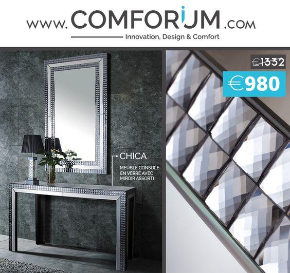 Ensemble design Console + Miroir - Chica - www.comforium.com  #Actu #Bonplan #Bonnemaison #Promo 
