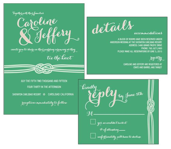 Infinity Knot Wedding Invitation in Mint- Printable by Desi Parks ...