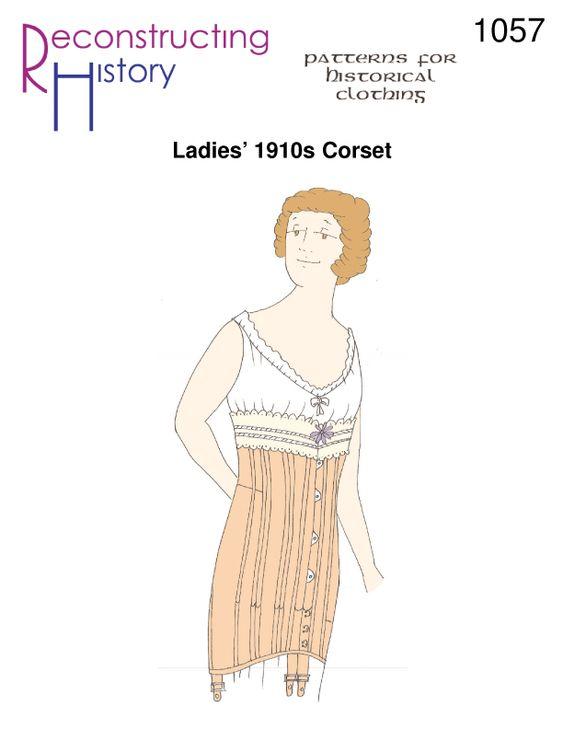 RH1057 -- Ladies' 1910s Corset - Reconstructing History LLC: