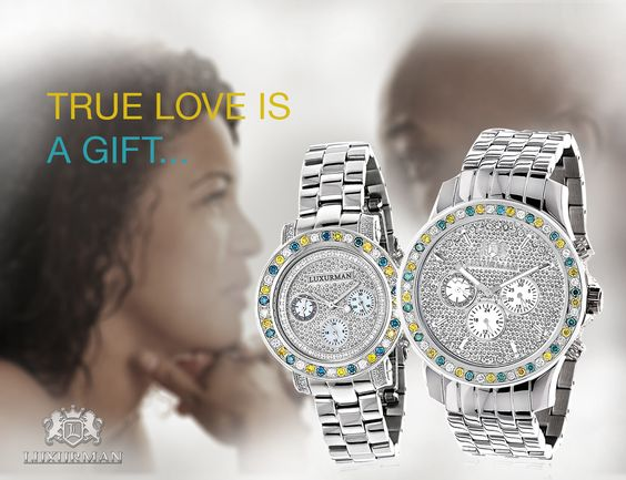 His and Hers Watches: White Blue Yellow Diamond Watch Set 5.25ct Luxurman #DIamondwatch #Luxurman #itshotjewelry