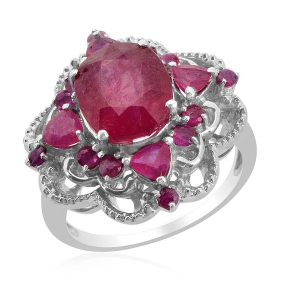 Liquidation Channel | Niassa Ruby Fissure Filled and Ruby Ring in Platinum Overlay Sterling Silver (