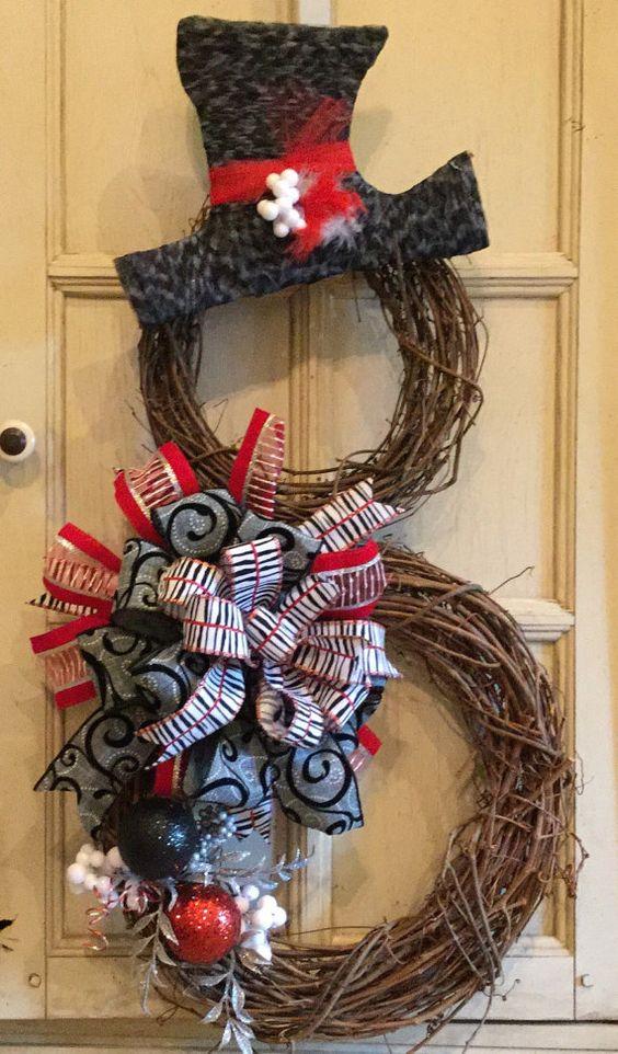 Snowman Wreath - Christmas Wreath - Grapevine Snowman - Christmas Snowman - Black and White Christmas Wreath - Snowman Christmas Wreath