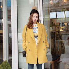 Seoul Fashion - Double-Breasted Wool Blend Coat
