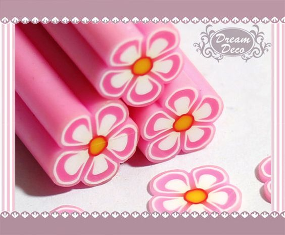 Large / Big Pink Flower Polymer Clay Cane / Fimo Cane by DreamDeco, $1.99