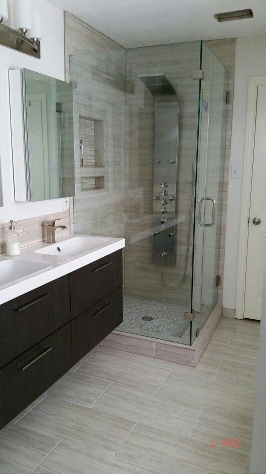 My Modern Bathroom Remodel I Wanted A Stone Look But Needed The Low Maintenance Of Porcelain And I Modern Bathroom Remodel Bathroom Design Bathrooms Remodel