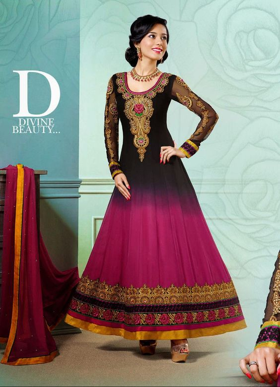 Indian Traditional Bollywood Designer Anarkali Wedding Party Wear ...