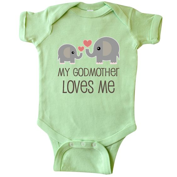 My Godmother Loves Me Infant Creeper Lime $16.99 www.personalizedfamilytshirts.com