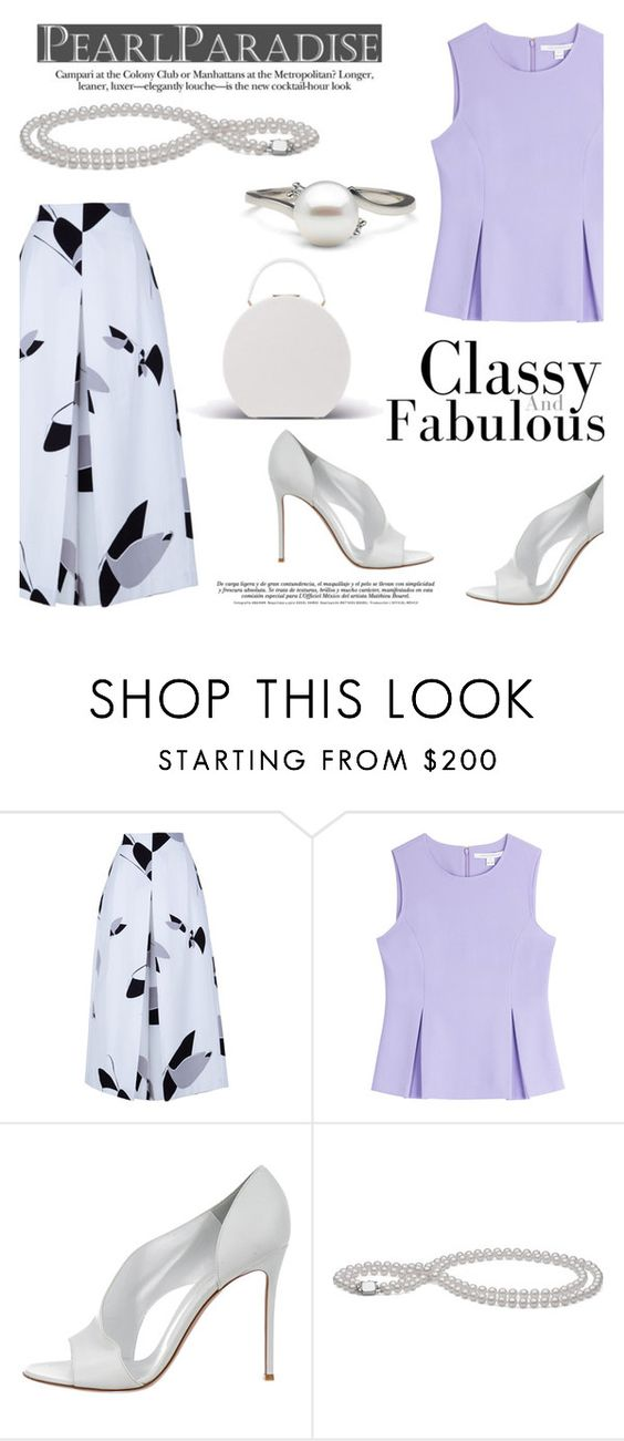 """""""White Akoya Pearls by Pearl Paradise"""" by pearlparadise ❤ liked on Polyvore featuring TIBI, Diane Von Furstenberg and Gianvito Rossi"""