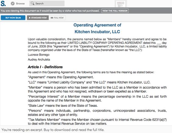 Sample Membership Agreement (Operating Agreement) for an LLC or - operating agreement