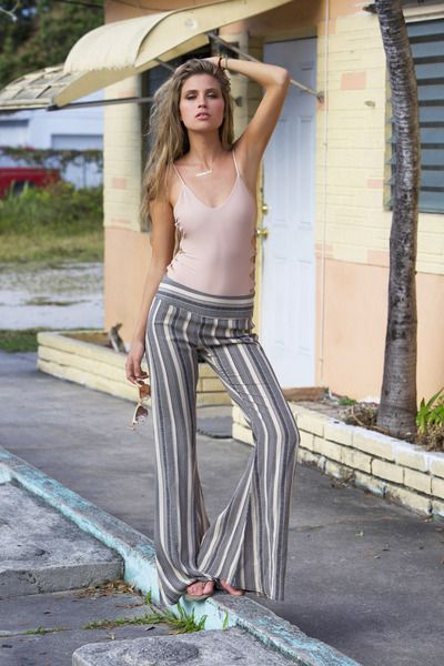 Flynn Skye Patty Flare Pant in Pebble Stripe