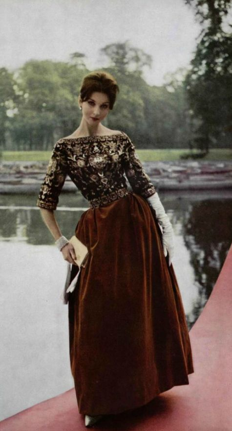 1959 - Pierre Balmain Evening Gown . Velvet skirt & embroidered corsage by Lesage.   #fallintofashion14 and #mccallpatterncompany