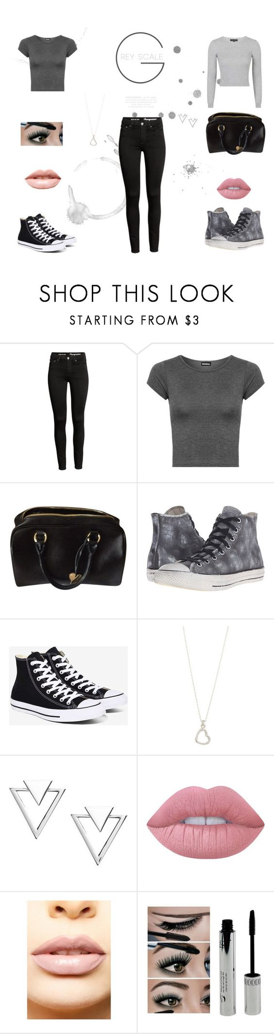"""Grey Scale"" by missmarvel-xox ❤ liked on Polyvore featuring WearAll, Cuore & Pelle, Converse, John Hardy, Nadri, Lime Crime, LASplash and Topshop"