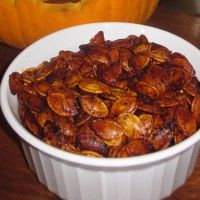 We always carve at least one Jack 'O Lantern in October. The first step is to remove the top and scoop out all of the pulp and seeds from the inside of the pumpkin. We never let the seeds go to waste though. We roast them and eat them instead.    If you want to roast the seeds from your pumpkin, our recipe is below. These never last long in our house.: