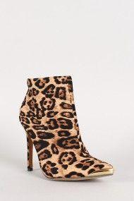 Liliana Wagner-10 Leopard Metal Cap Pointy Toe Bootie