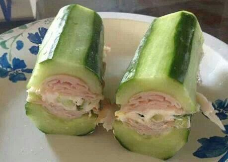 Cucumber, turkey and cream cheese