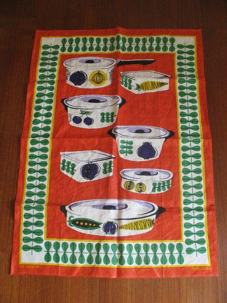 Vintage Handtücher - Kult Küchentuch Geschirrtuch bedruckt 60er - ein Designerstück von old-and-nice bei DaWanda