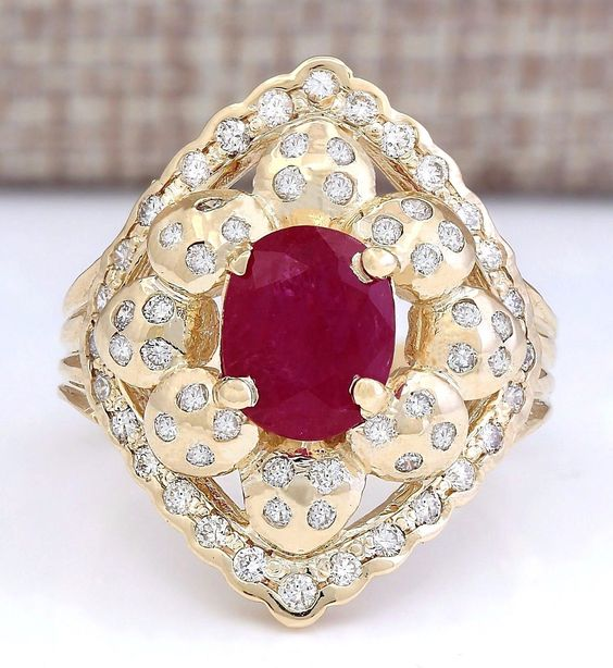 3.40CTW NATURAL RUBY AND DIAMOND RING IN 14K YELLOW GOLD  https://t.co/sktWBCMXaH https://t.co/75Ui1WnPYk
