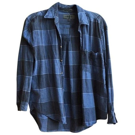 Brandy Melville Blue Wylie Plaid Flannel Button Down Shirt Tradesy ($29) ❤ liked on Polyvore featuring tops, plaid top, plaid shirts, flannel shirts, flannel button-down shirts and flannel button up shirts