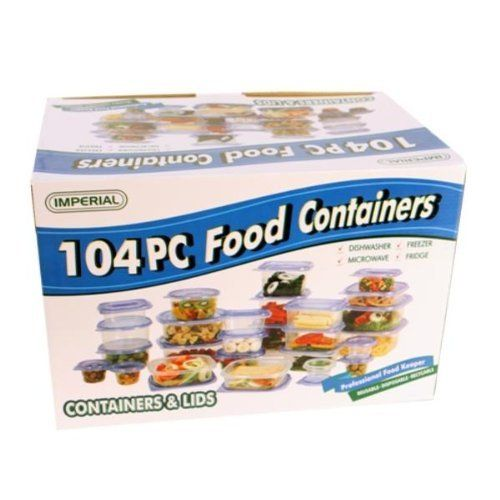 104 Piece Food Container (6 Pack) by DDI. $135.78. We proudly offer free shipping. We can only ship to the continental United States.. Please refer to the title for the exact description of the item.. 100% Satisfaction Guaranteed.. High quality items at low prices to our valued customers.. All of the products showcased throughout are 100% Original Brand Names.. 104 Piece Food Container Disposable, reusable. Caution: Wash before using; if using dishwasher, place on top rac...