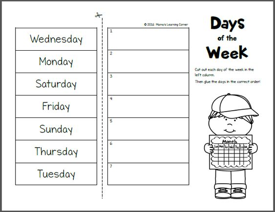 Days of the Week Worksheets | Shops, The o'jays and Worksheets