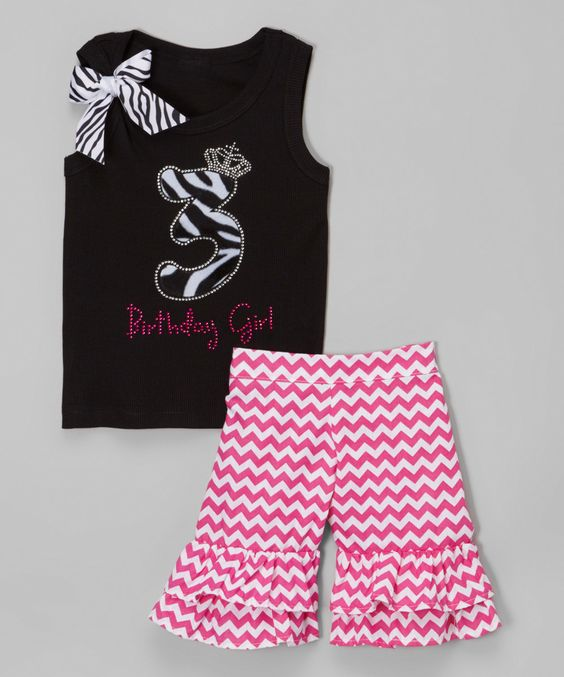 Look at this Black Zebra '3' Birthday Tank & Shorts - Toddler & Girls on #zulily today!