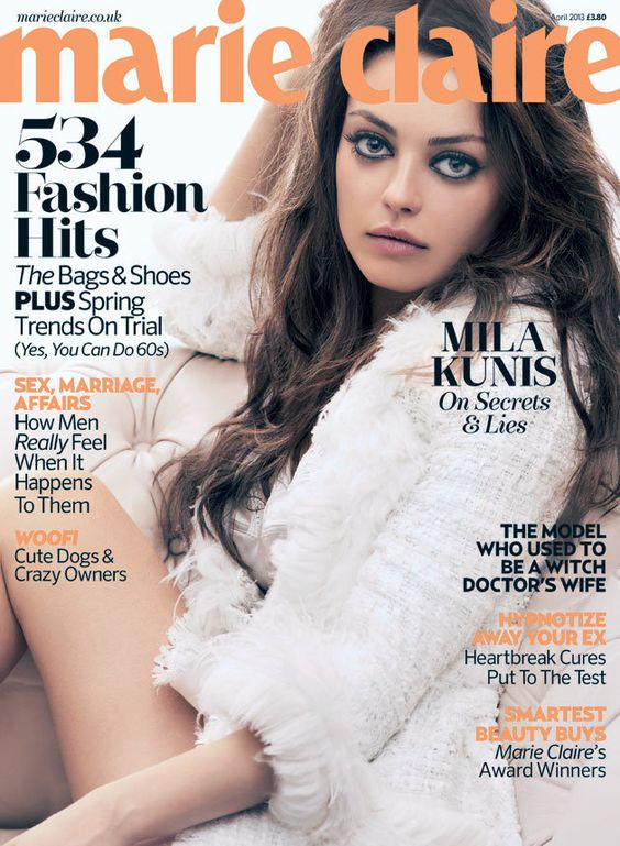 Mila wears a chic white jacket on the cover of the magazine © Marie Claire