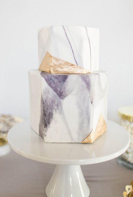 Hexagonal Purple, Gold, and White Wedding Cake. This haute hexagonal wedding…