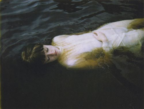 "redhead-bouquet:    water / girl / floating / dark / pale    It is not possible for me to see pictures like this & not immediately think two things:  1.  …but lancelot mused a little space / he said, ""she has a lovely face; / god in his mercy lend her grace, / the lady of shalott.""  2.  'Anne Shirley.  What in heck are you doing?'  'Fishing for lake trout.'"