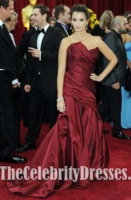 Penelope Cruz  2010 Oscar Red Carpet Strapless Evening Dress Celebrity Dresses
