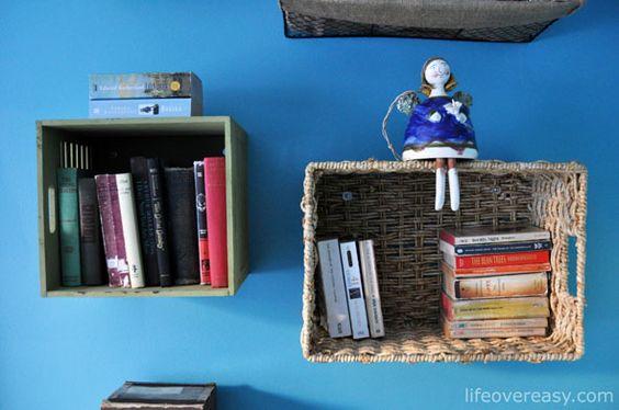 Use baskets to make shelves