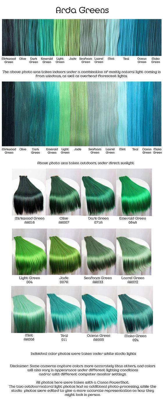 Arda Greens Wig Fiber Color Pallette Green Hair Ideas