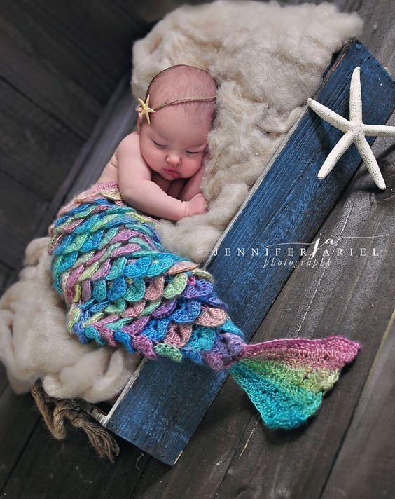 Newborn baby mermaid photography #newbornphotography