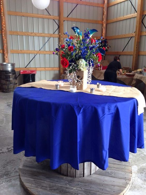Pole barn wedding with electric spools