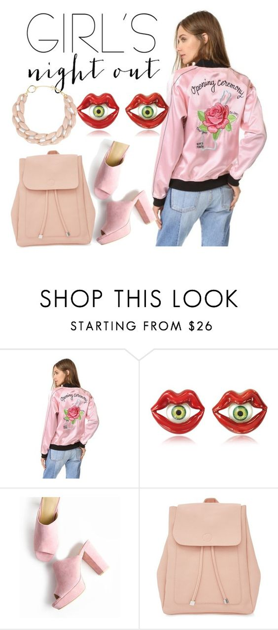 """""""Young n hungry"""" by loanchau ❤ liked on Polyvore featuring Opening Ceremony, Bernard Delettrez, New Look, DIANA BROUSSARD and girlsnightout"""