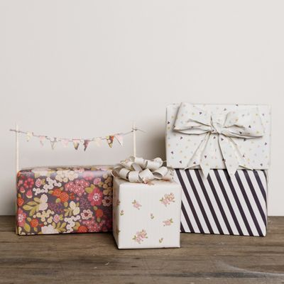 pink posies wrapping paper
