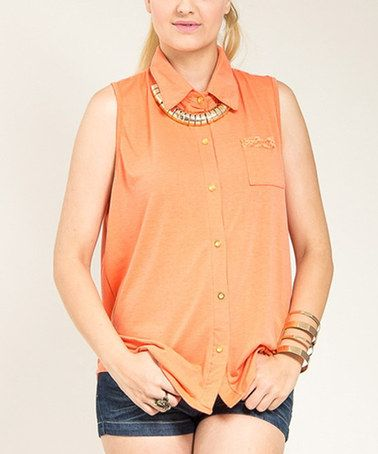 Loving this Orange Lace-Accent Cutout Button-Up Top - Plus on #zulily! #zulilyfinds