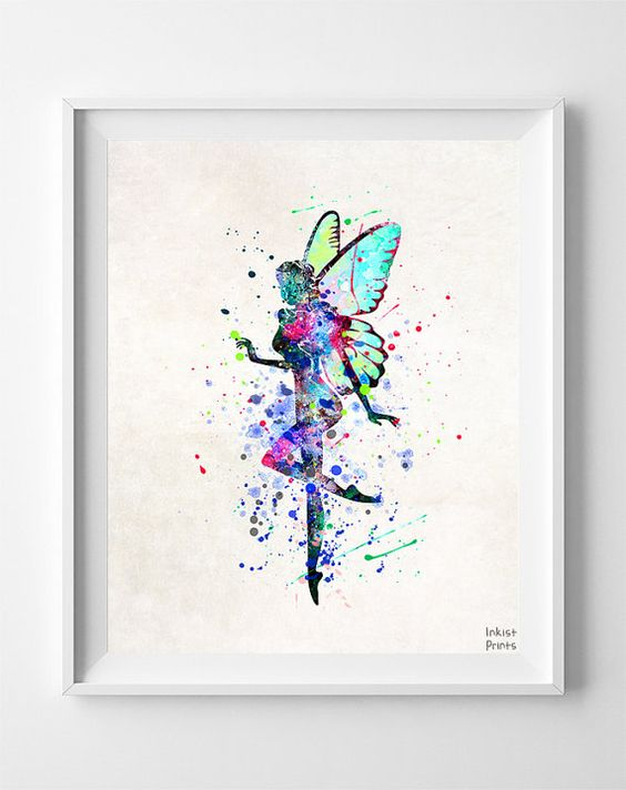 Fairy Print Fairy Poster Fairy Watercolor Art by InkistPrints