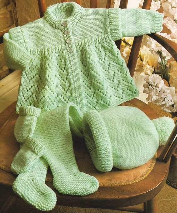 Dk Gloves Knitting Pattern : Details about Matinee Eyelet Baby Coat Hat Mitts ...