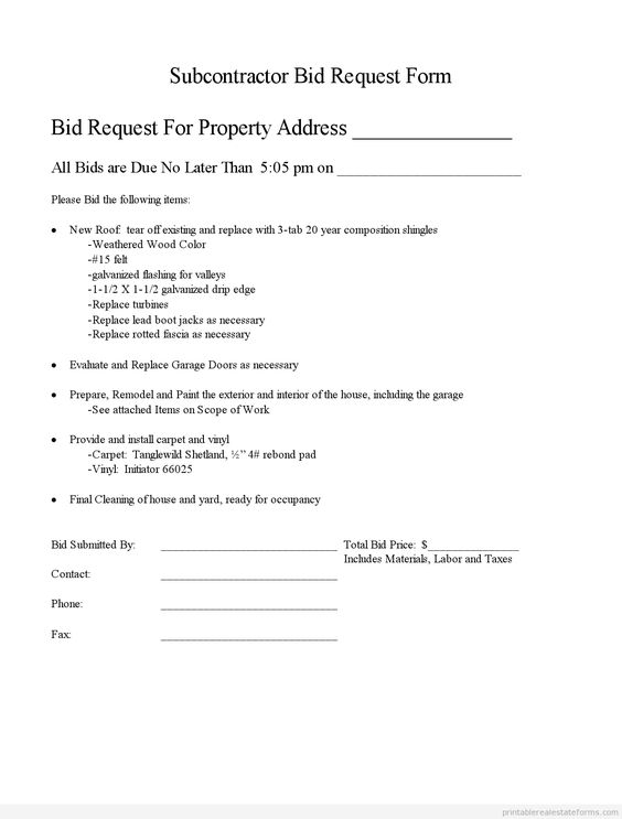 Printable subcontractor bid request form and standardized for Subcontractor scope of work template